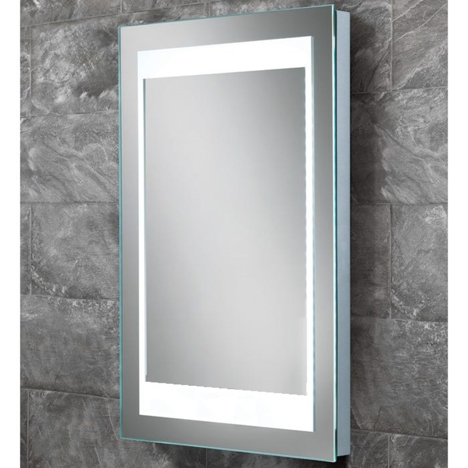 Lot 22 - Bathstore 'Atmos' designer back lit LED illuminated mirror with de-mister and no-touch sensor