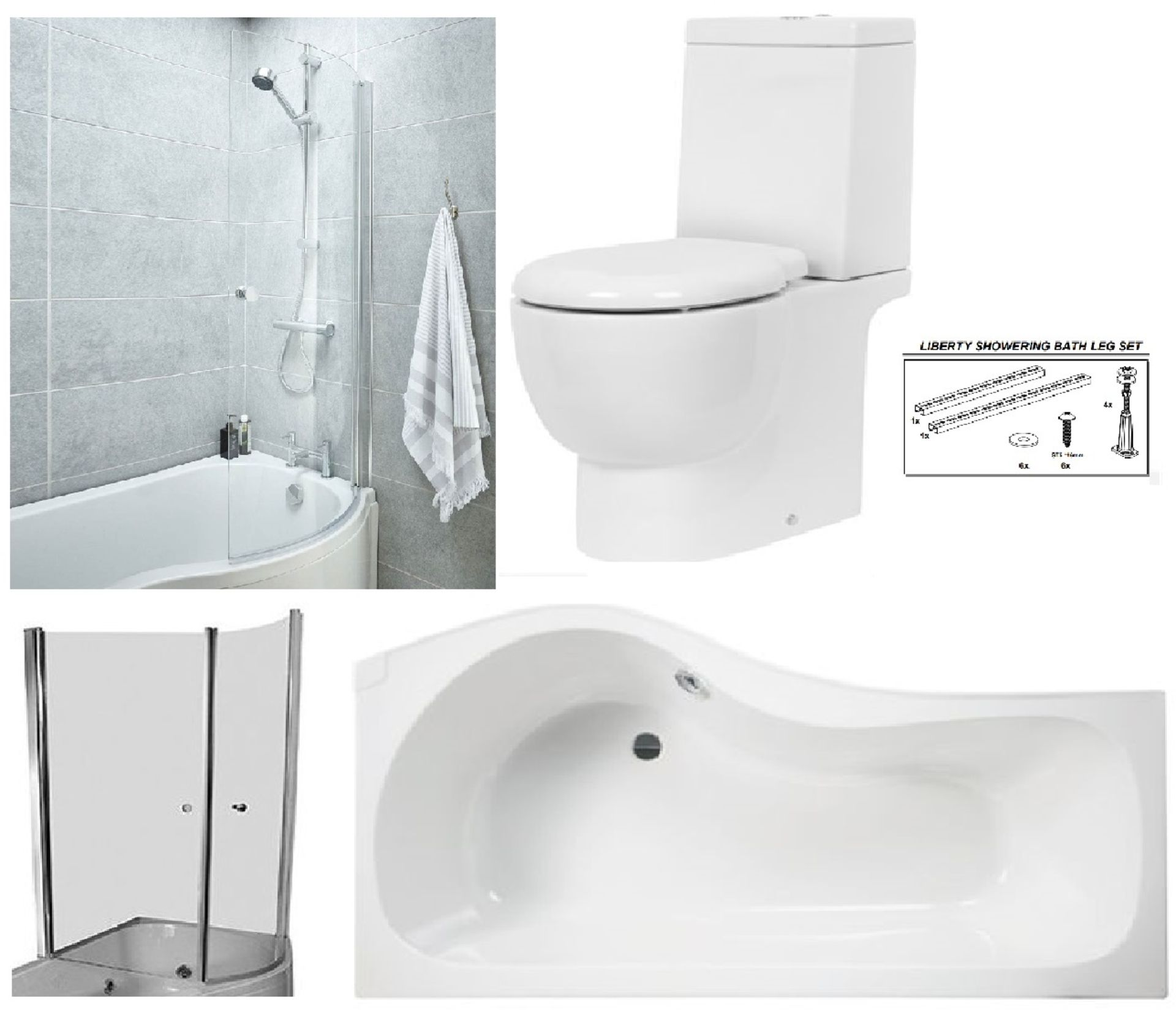 Lot 4 - Bathstore Liberty' RIGHT HANDED 1500mm re-enforced 'P' shower bath with curved pivot front bath