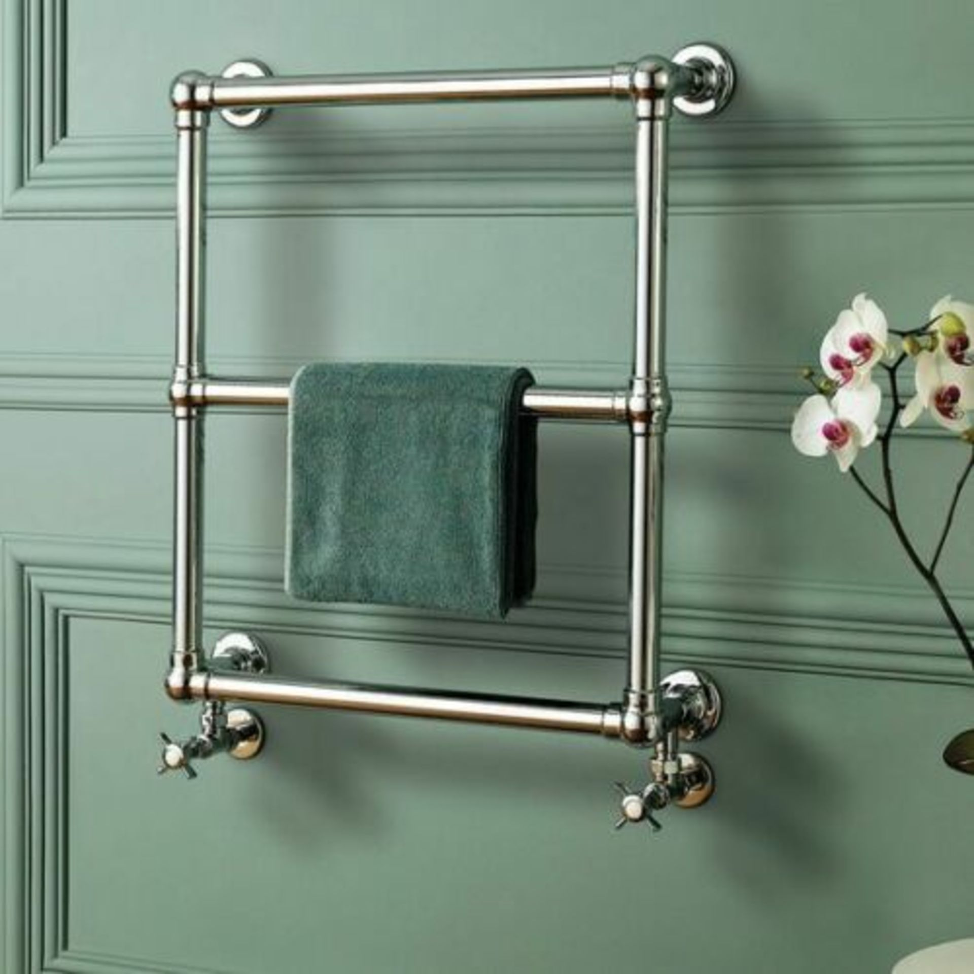 Lot 19 - Fervent Traditional Ball Jointed Towel Radiator 686mm x 600mm Brand new, factory sealed packaging.