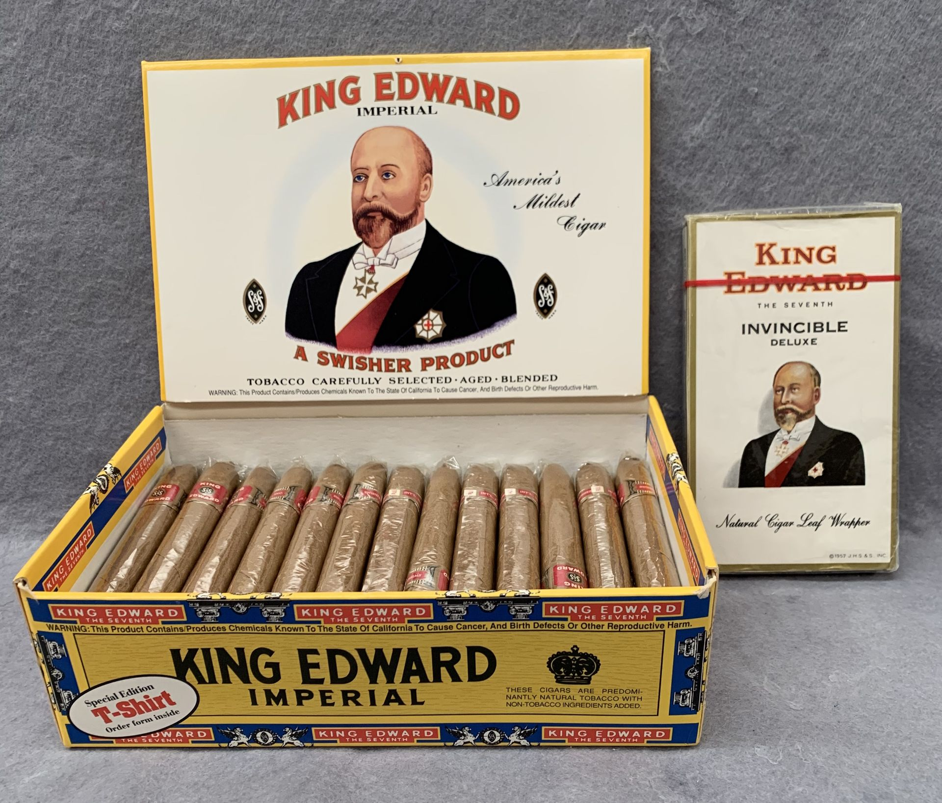 Lot 13 - 37 King Edward Imperial cigars in presentation box and a packet of five King Edward Invincible