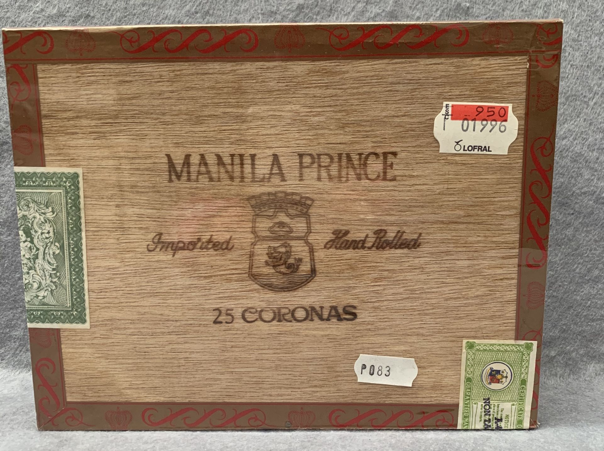 Lot 17 - A sealed box of Manila Prince Imported Hand Rolled 25 Coronas cigars