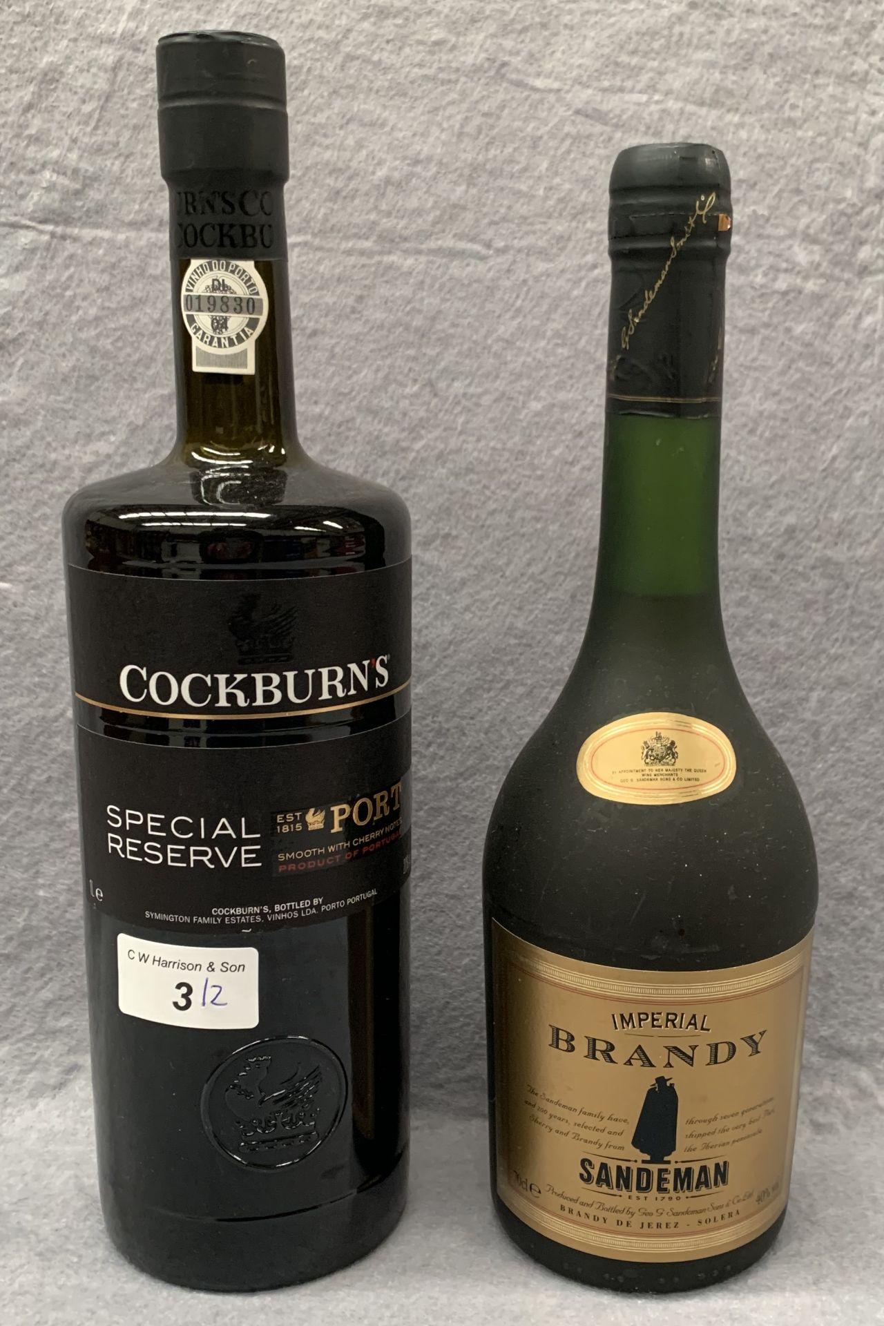 Lot 3 - A 1 litre bottle of Cockburns Special Reserve Port and a 70cl bottle of Sandeman Imperial Brandy
