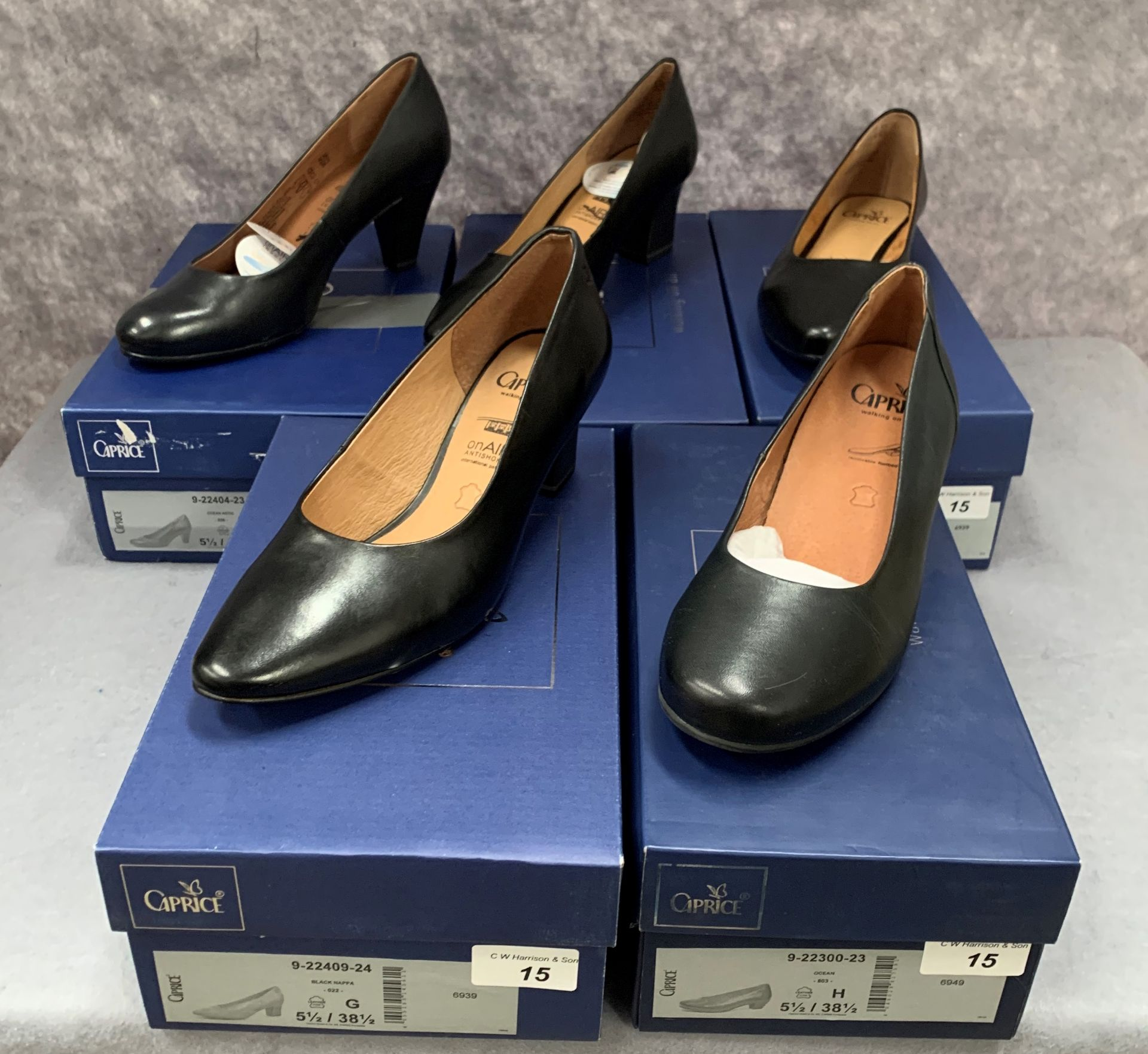 Lot 15 - Five pairs of Caprice ladies shoes in black (3) and ocean (2), various styles, size 5½,