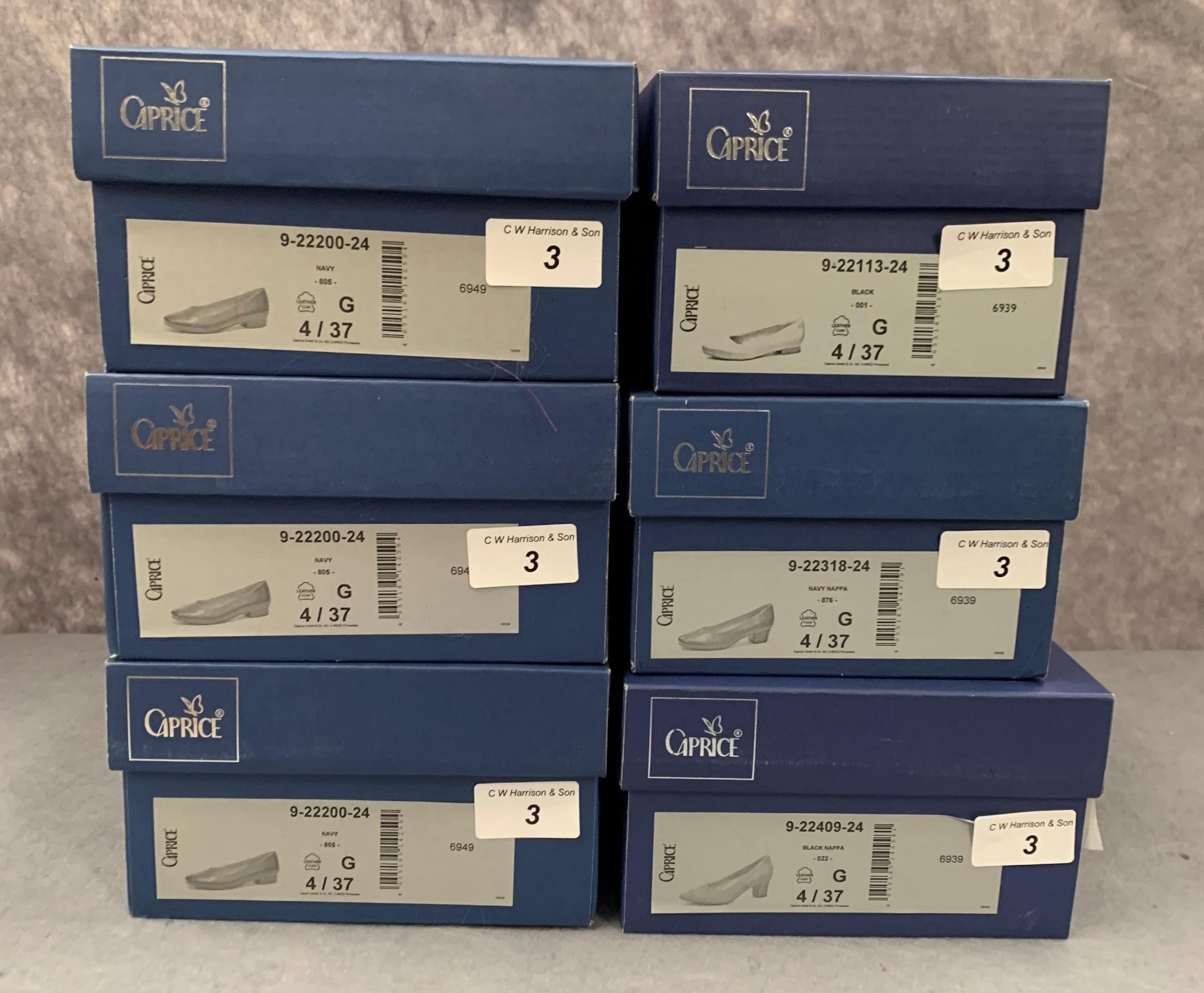 Lot 3 - Six pairs of Caprice ladies shoes in black and navy, various styles, size 4, retail price £59.