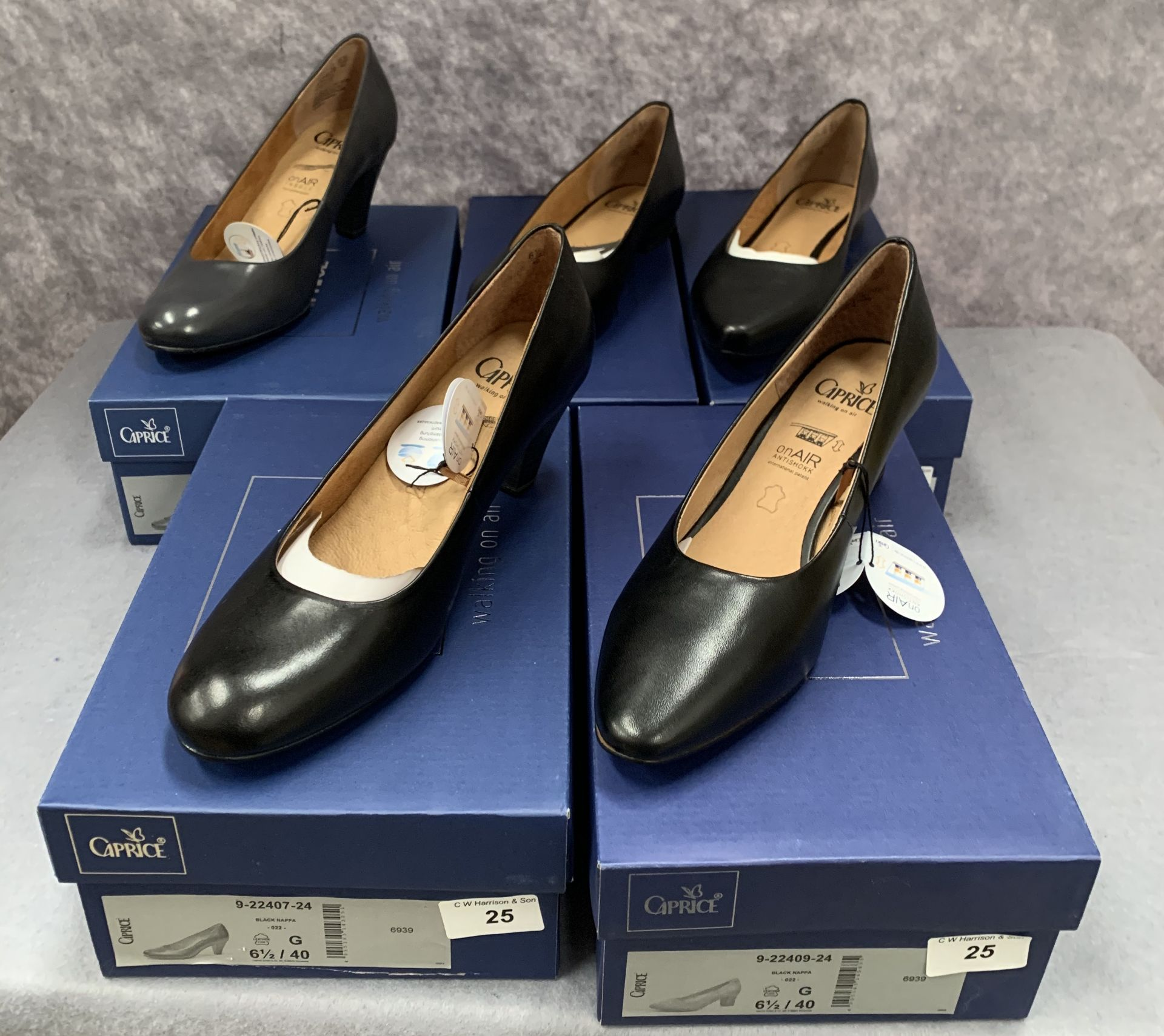 Lot 25 - Five pairs of Caprice ladies shoes in black (4) and navy (1), various styles, size 6½,