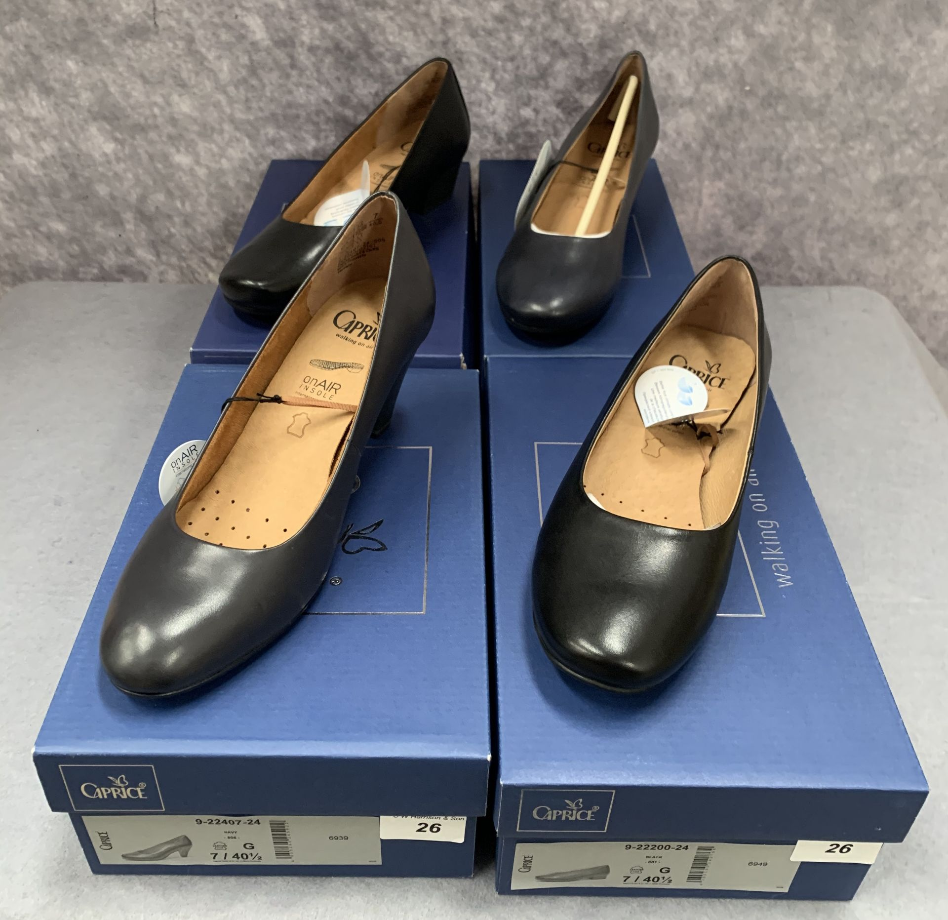 Lot 26 - Four pairs of Caprice ladies shoes in black (2) and navy (2), various styles, size 7,