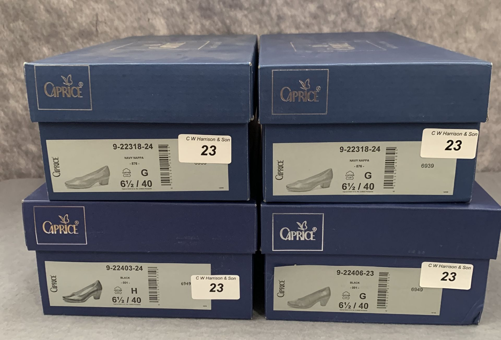 Lot 23 - Four pairs of Caprice ladies shoes in black (2) and ocean (2), various styles, size 6½,
