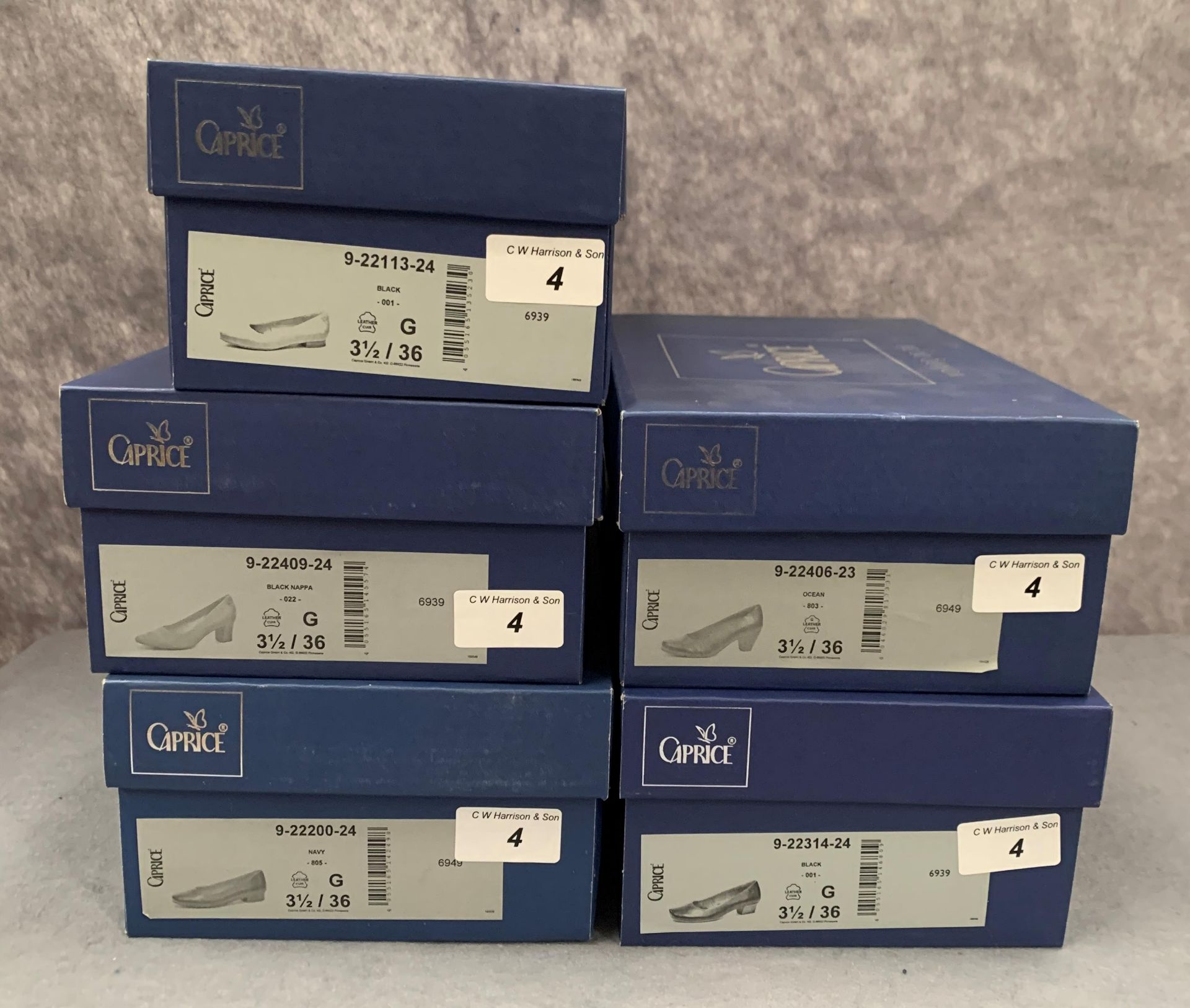 Lot 4 - Five pairs of Caprice ladies shoes in black, navy and ocean, various styles, size 3½,