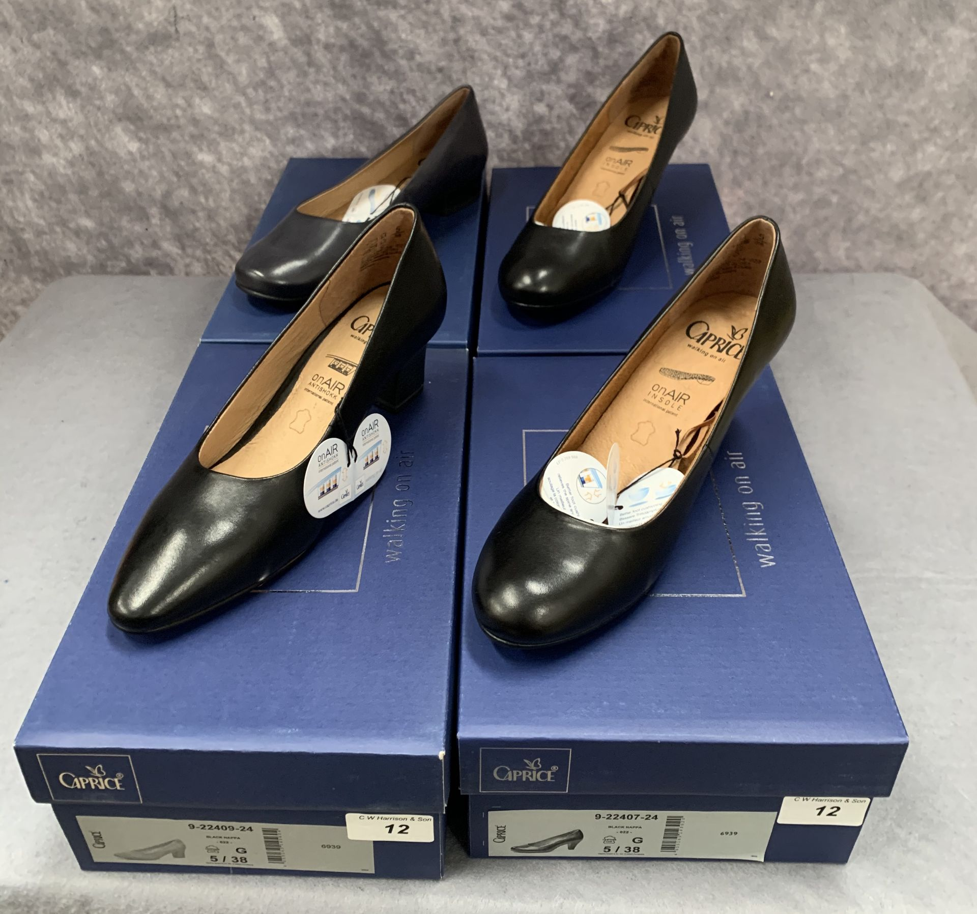 Lot 12 - Four pairs of Caprice ladies shoes in black (3) and navy (1), various styles, size 5,