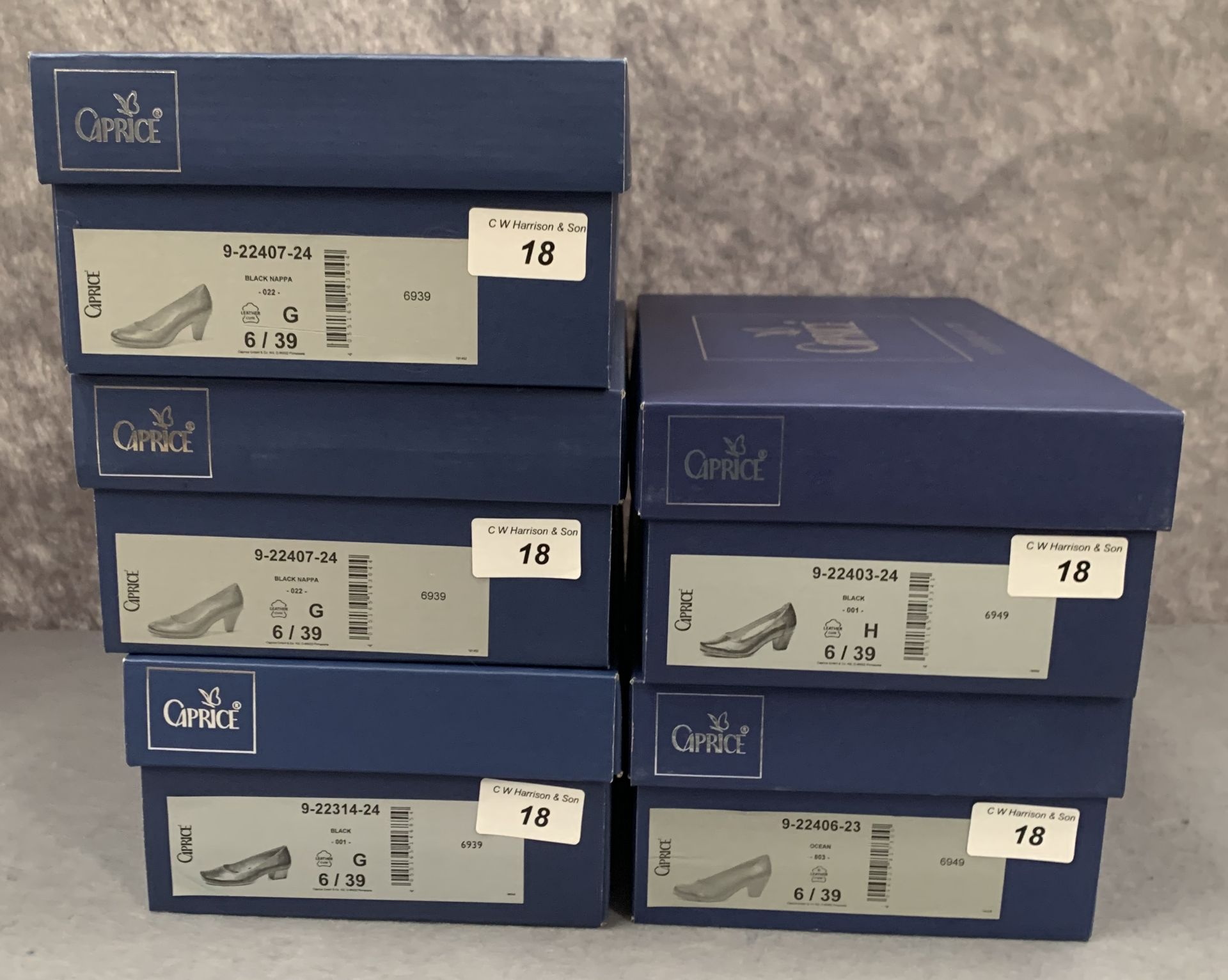 Lot 18 - Five pairs of Caprice ladies shoes in black (4) and ocean (1), various styles, size 6,