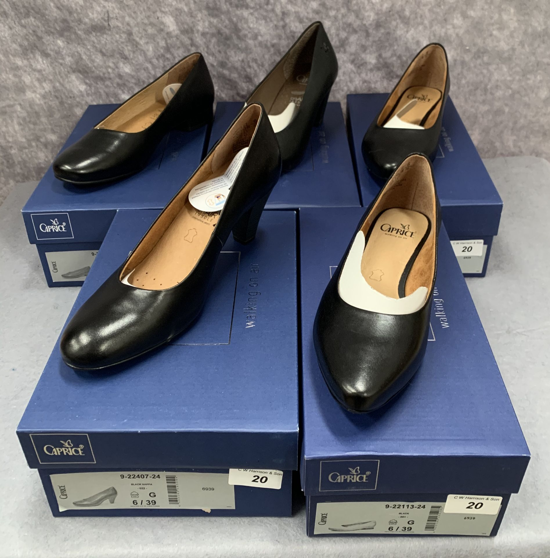 Lot 20 - Five pairs of Caprice ladies shoes in black, various styles, size 6, retail price £59.