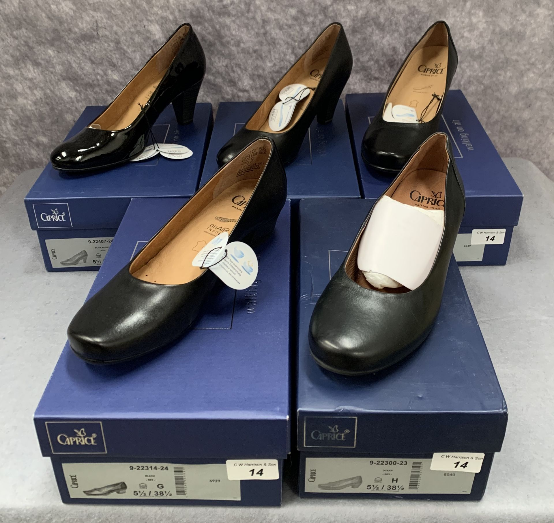 Lot 14 - Five pairs of Caprice ladies shoes in black (4) and ocean (1), various styles, size 5½,