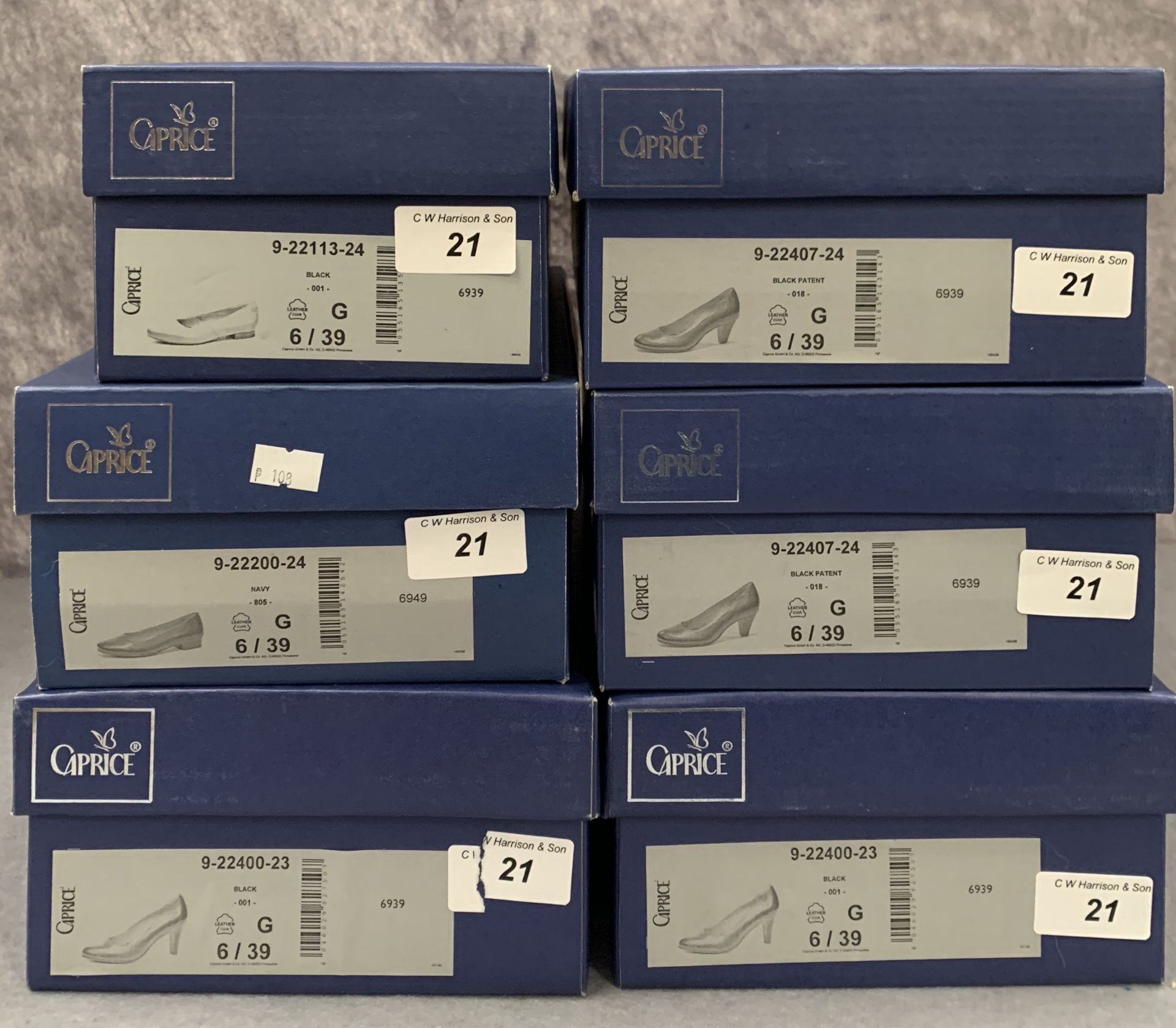 Lot 21 - Six pairs of Caprice ladies shoes in black (5) and navy (1), various styles, size 6,