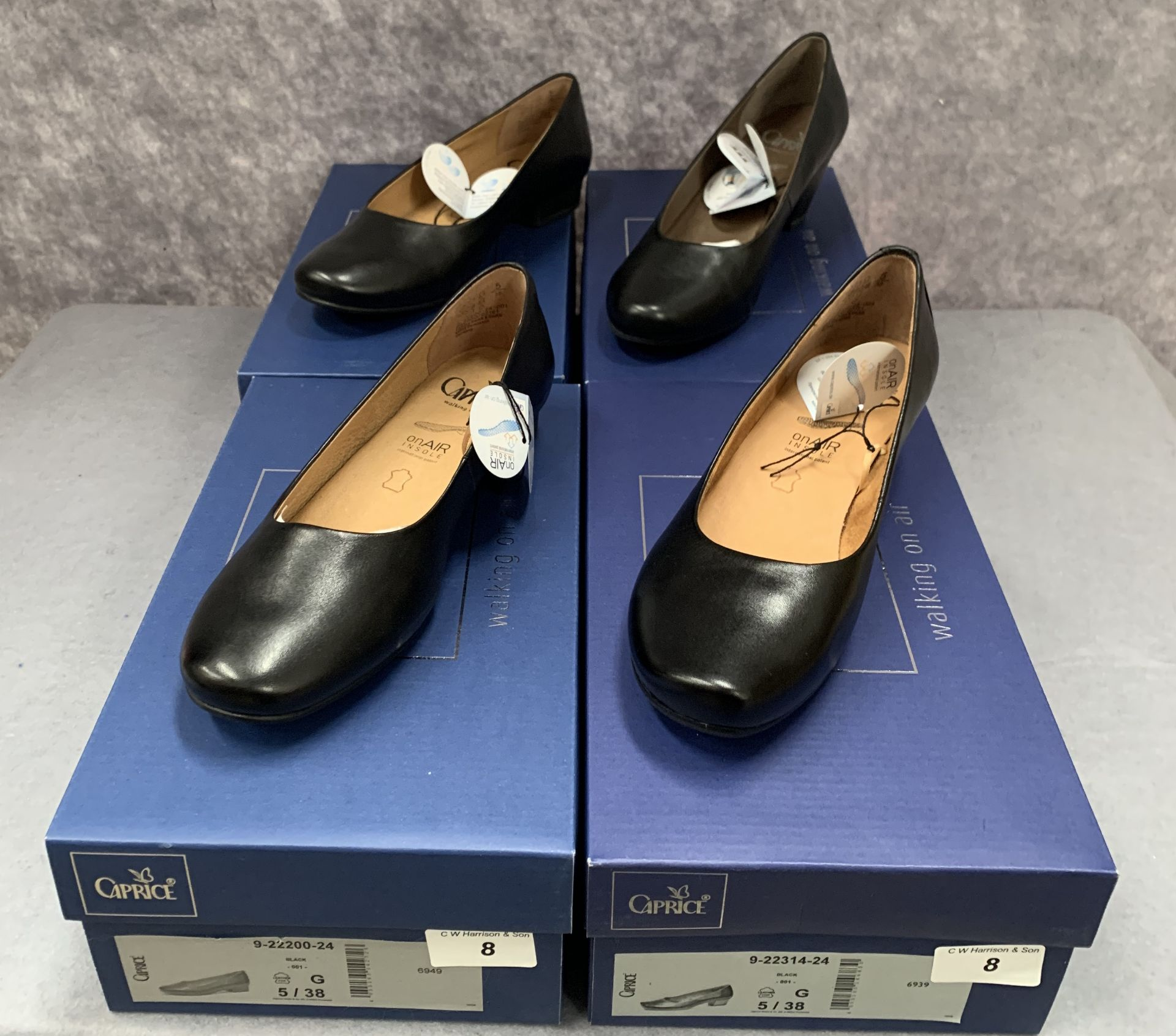 Lot 8 - Four pairs of Caprice ladies shoes in black, various styles, size 5, retail price £59.