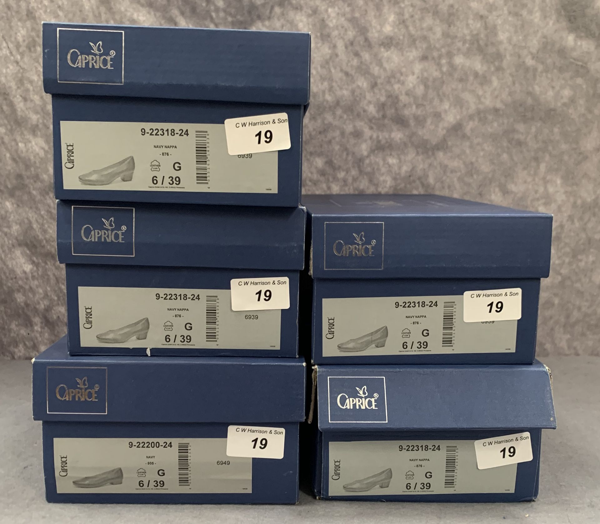 Lot 19 - Five pairs of Caprice ladies shoes in navy, various styles, size 6, retail price £59.