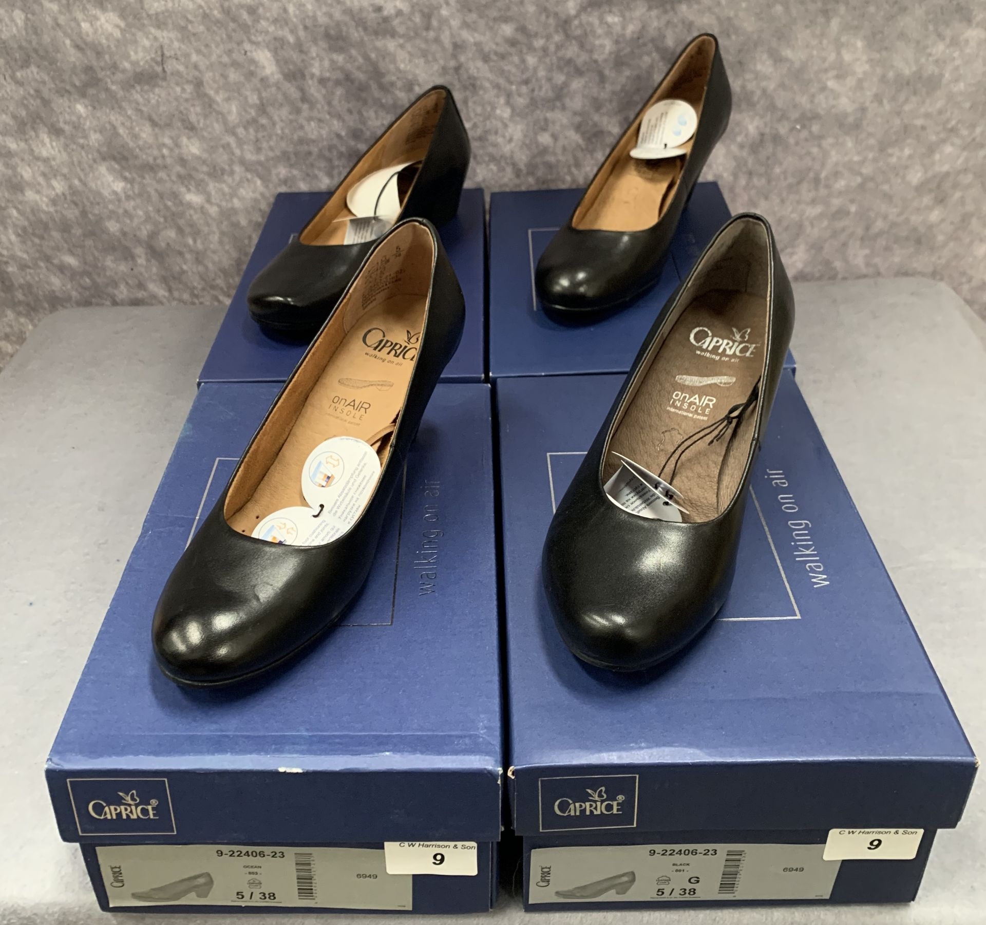 Lot 9 - Four pairs of Caprice ladies shoes in black (3) and ocean (1), various styles, size 3½,