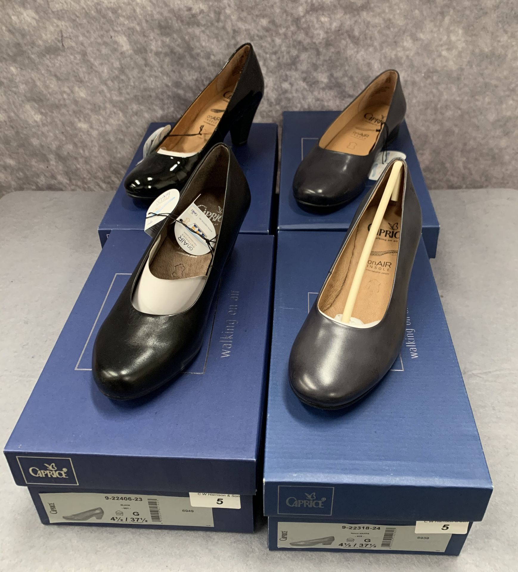 Lot 5 - Four pairs of Caprice ladies shoes in navy and black, various styles, size 4½, retail price £59.