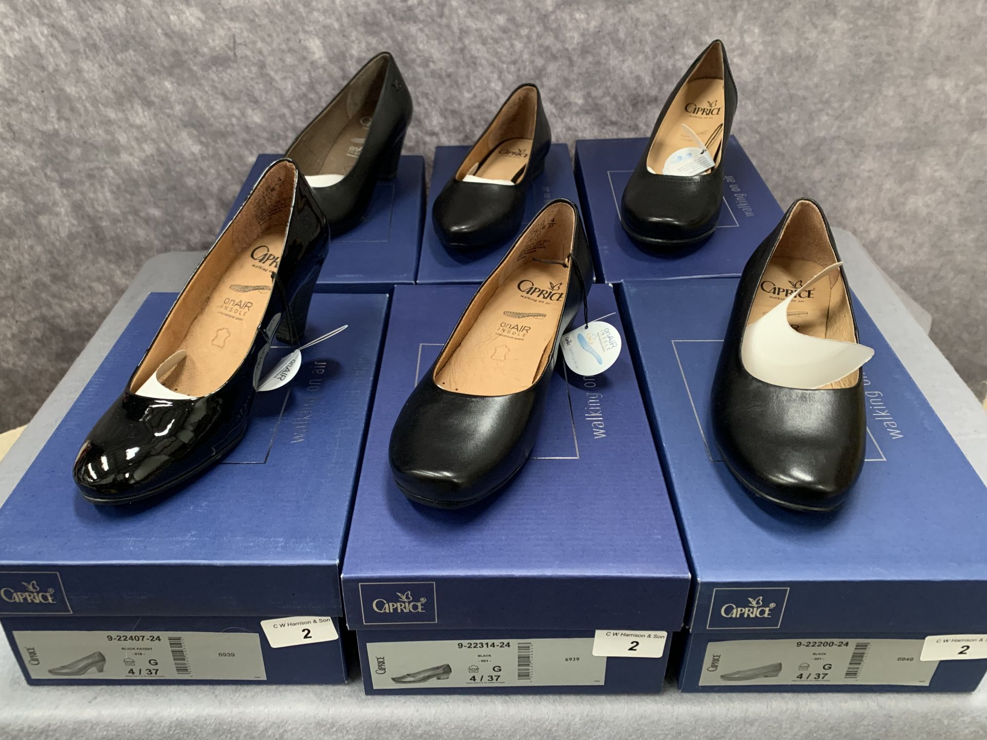 Lot 2 - Six pairs of Caprice ladies shoes in black, various styles, size 4, retail price £59.