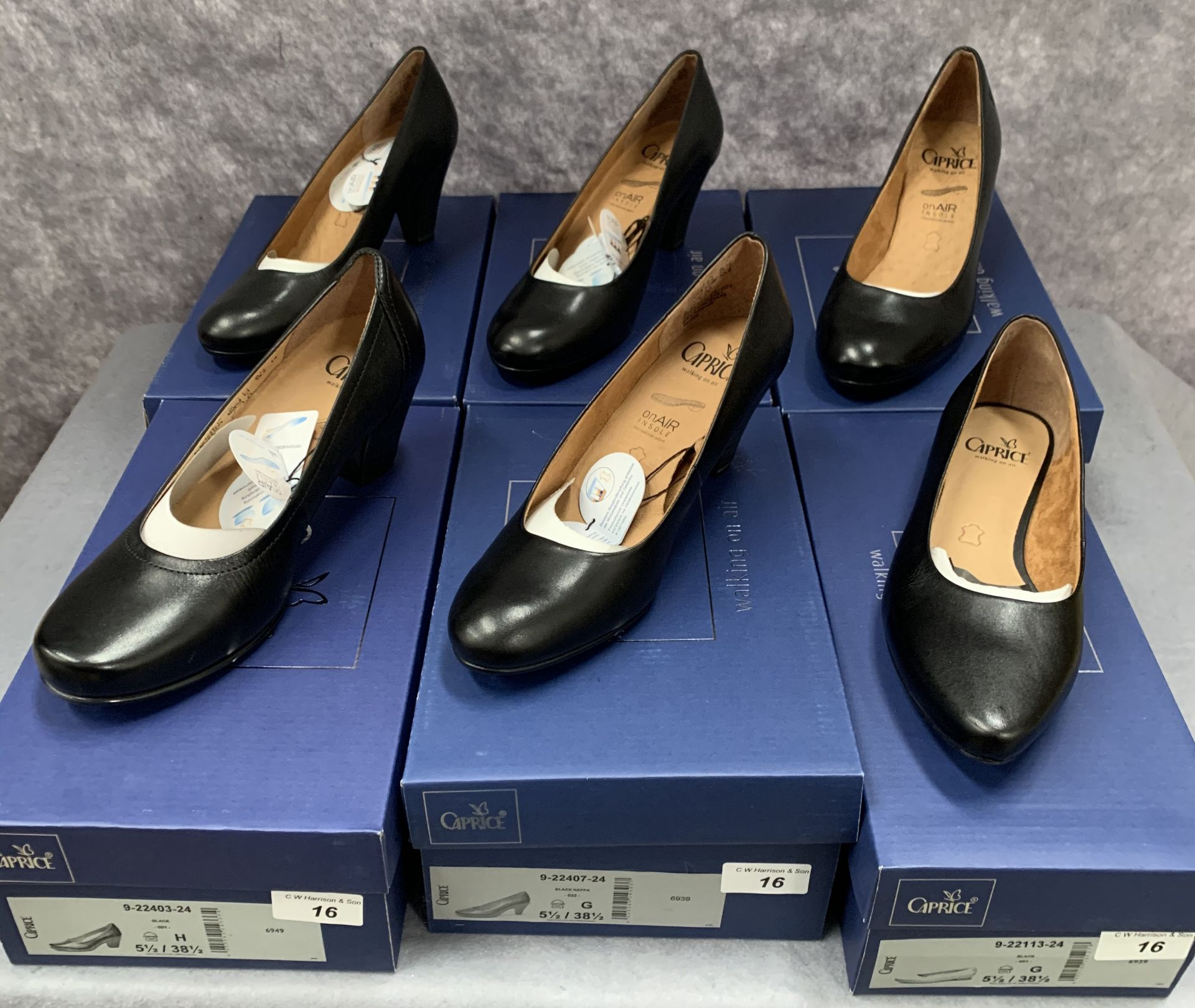 Lot 16 - Five pairs of Caprice ladies shoes in black, various styles, size 5½, retail price £59.