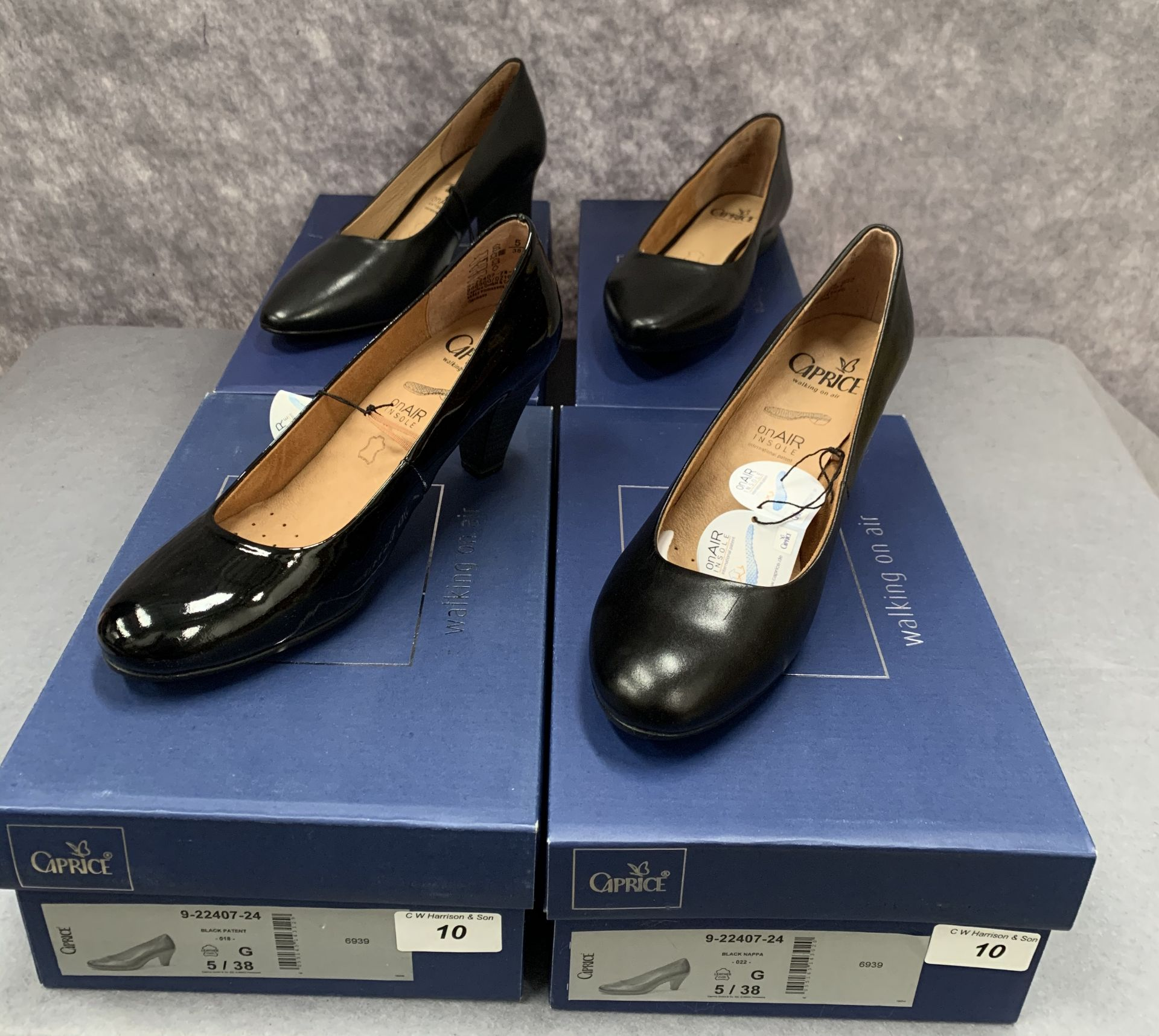 Lot 10 - Four pairs of Caprice ladies shoes in black, various styles, size 5, retail price £59.