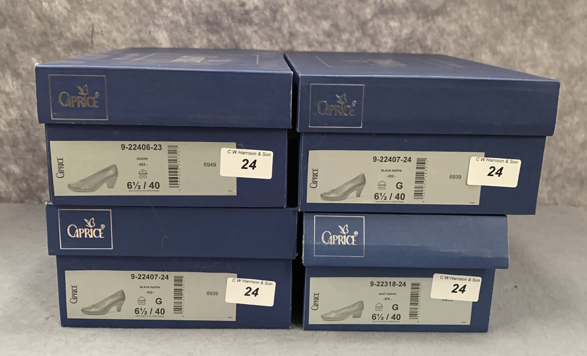 Lot 24 - Four pairs of Caprice ladies shoes in black (2), navy (1) and ocean (1), various styles, size 6½,
