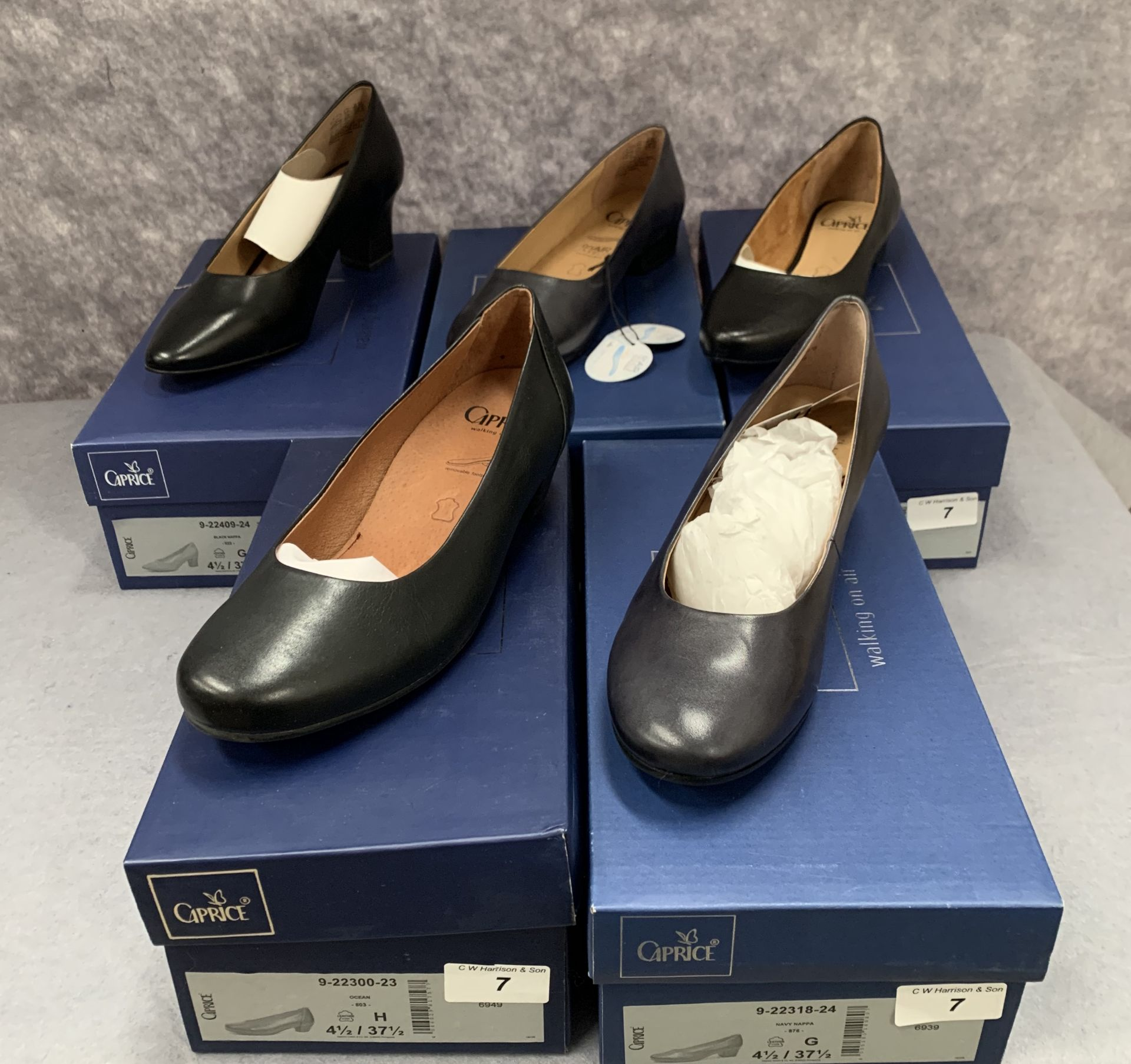 Lot 7 - Five pairs of Caprice ladies shoes in black, navy and ocean, various styles, size 4½,