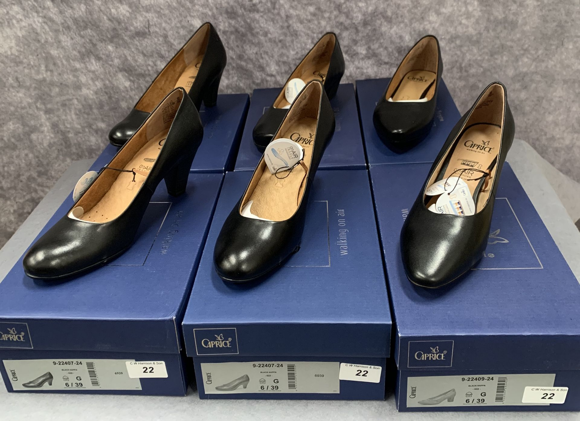 Lot 22 - Six pairs of Caprice ladies shoes in black, various styles, size 6, retail price £59.