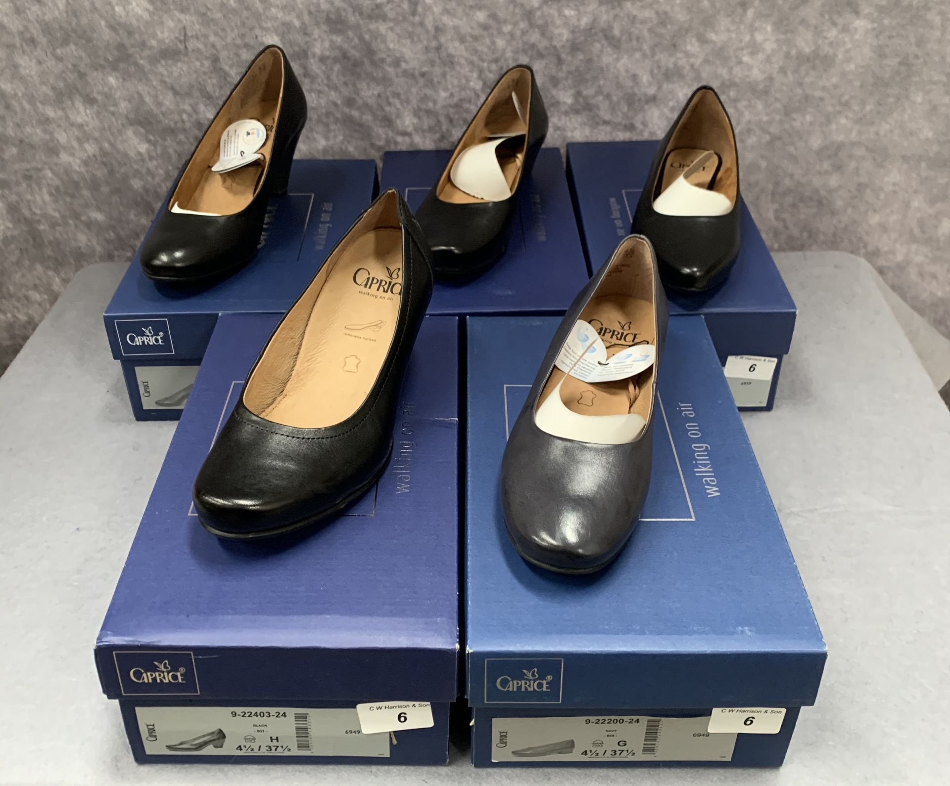 Lot 6 - Five pairs of Caprice ladies shoes in black (4) and navy (1), various styles, size 4½,
