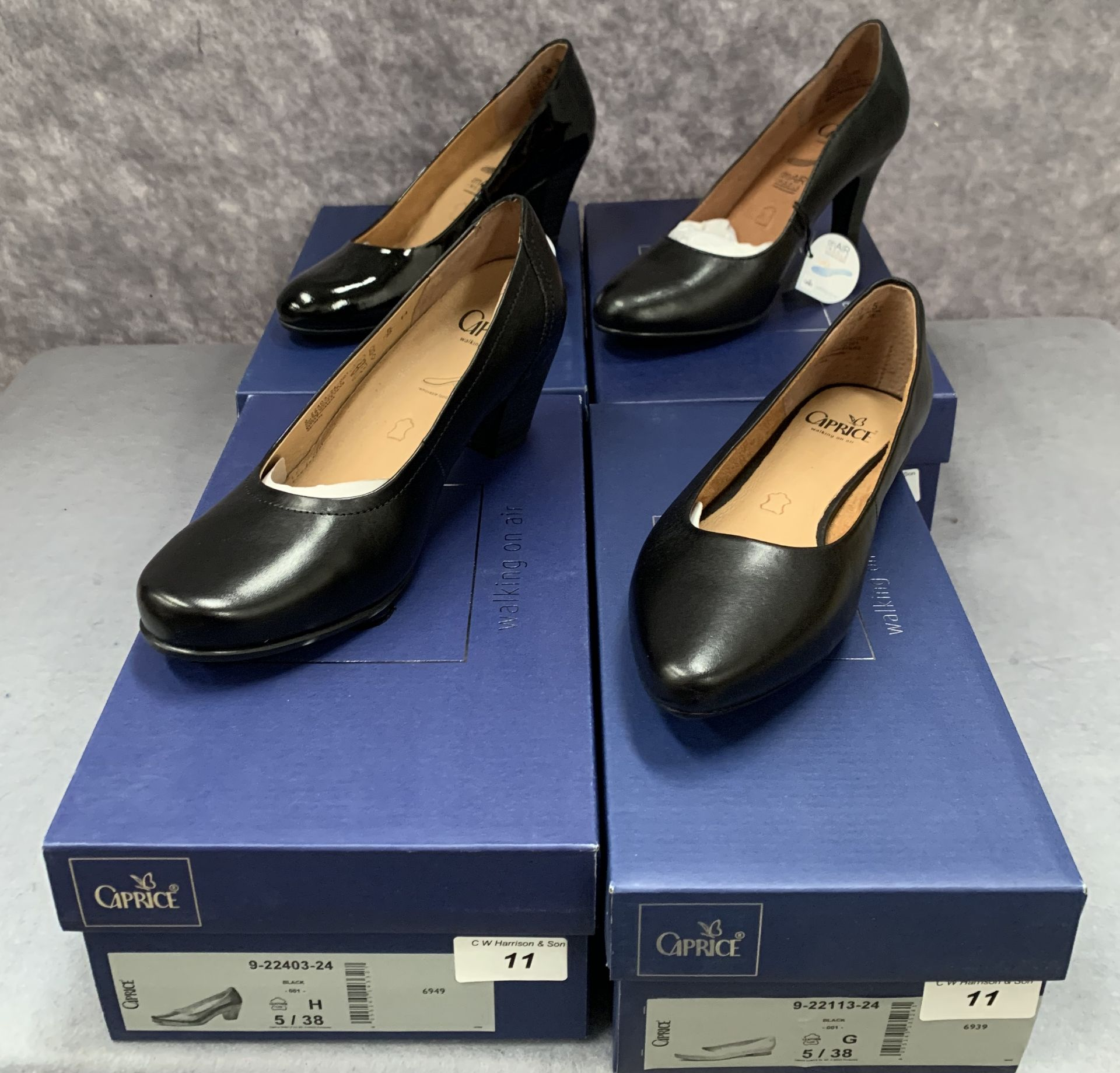 Lot 11 - Four pairs of Caprice ladies shoes in black, various styles, size 5, retail price £59.