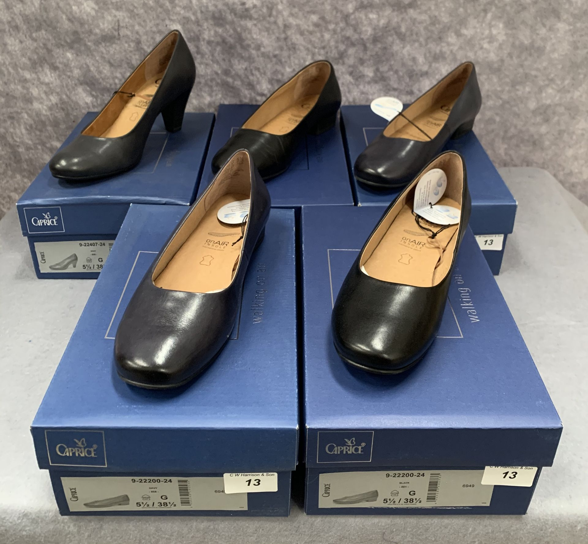 Lot 13 - Five pairs of Caprice ladies shoes in black (2) and navy (3), various styles, size 5½,