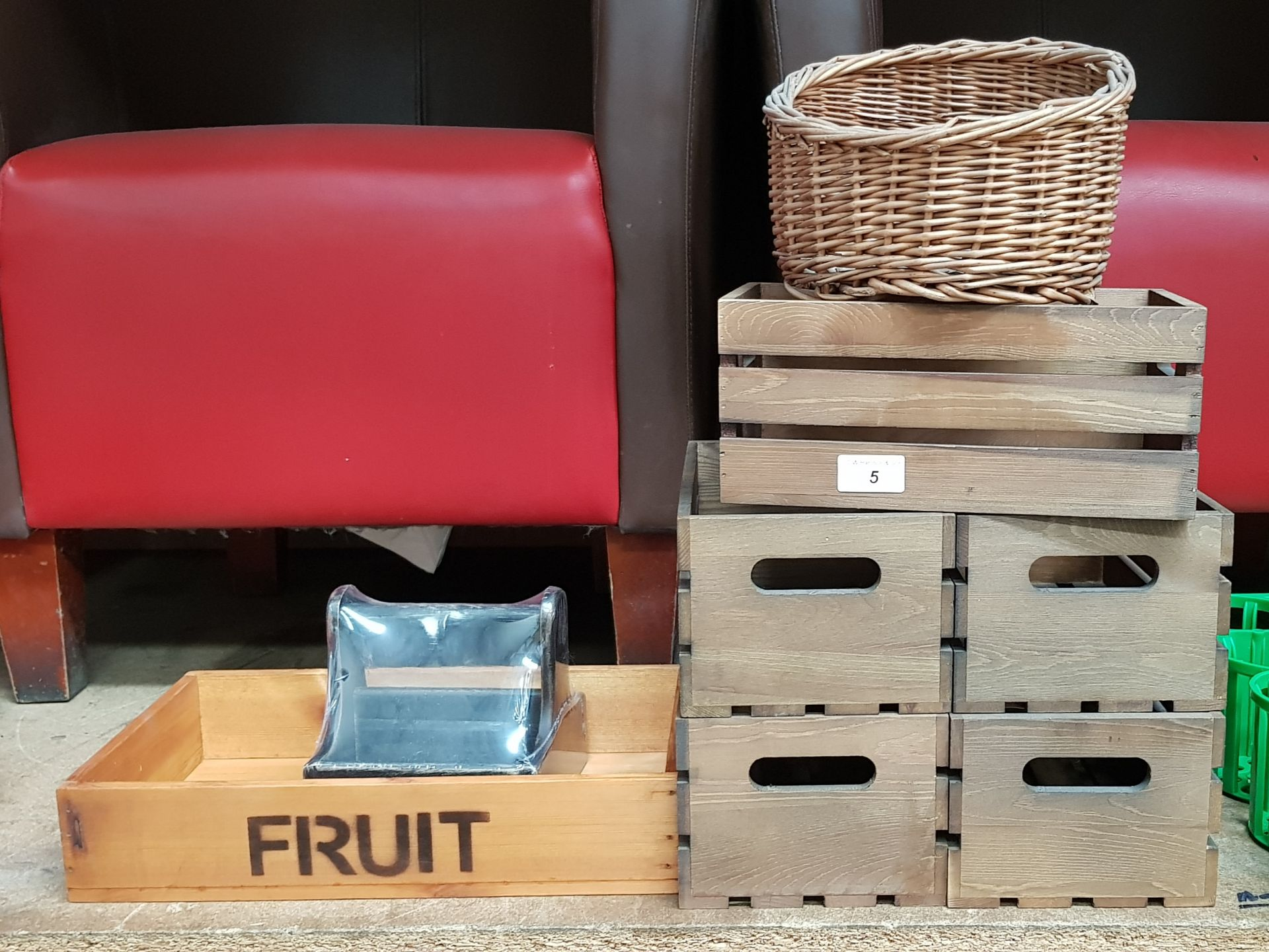 Lot 5 - 8 X WOODEN/WICKER STORAGE CONTAINERS