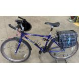 Trek Mountain Track gents bicycle - 21 speed - blue fitted with saddle bags