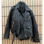 Gentlemans black leather motorbike jacket size XS and a pair of Rayven black leather motorbike