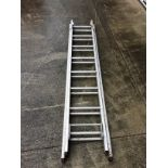 A small 16 rung double extension ladder - aluminium