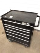 A Halfords industrial six drawer black metal mobile tool cabinet 70 x 47 x 87cm high - locked - no