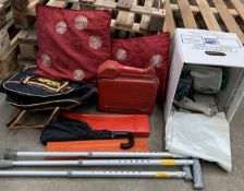 Contents to part of pallet - metal petrol can, warning triangle, walking stick,