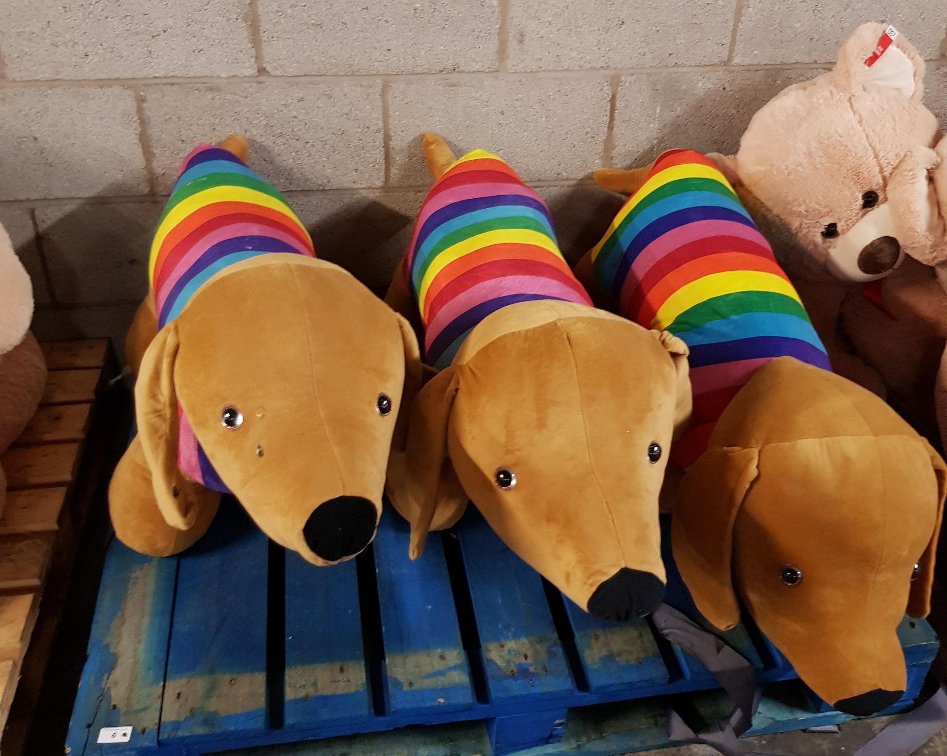 Lot 6 - 3 x GIANT RAINBOW DOGS
