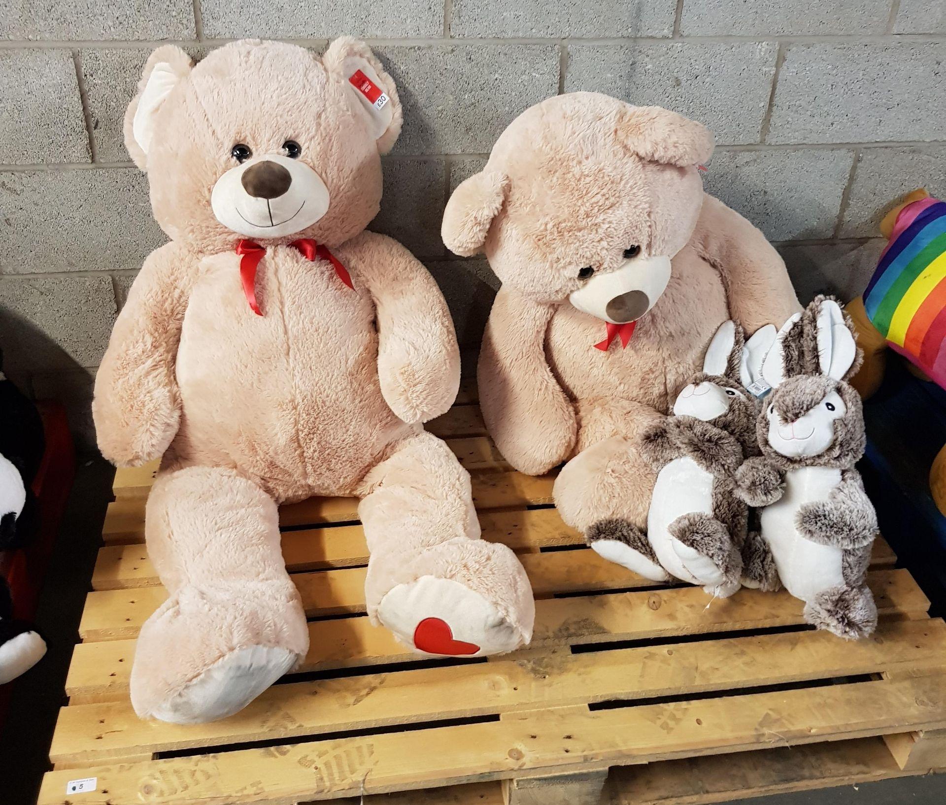 Lot 5 - 4 ITEMS - 2 x GIANT TEDDY BEARS & 2 x SOFT RABBITS