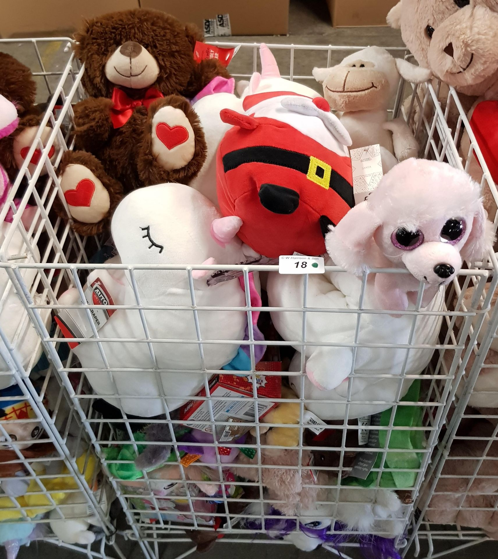 Lot 18 - CONTENTS OF CAGE - MIXED SOFT TOYS