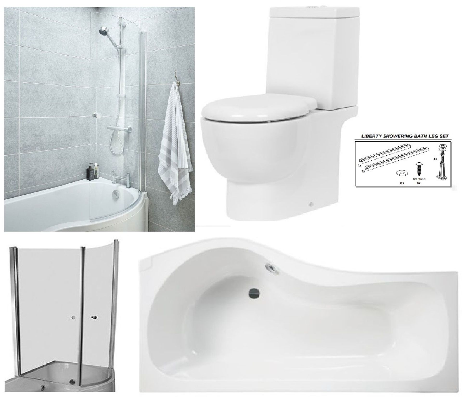 Lot 5 - Bathstore Liberty' RIGHT HANDED 1500mm re-enforced 'P' shower bath with curved pivot front bath