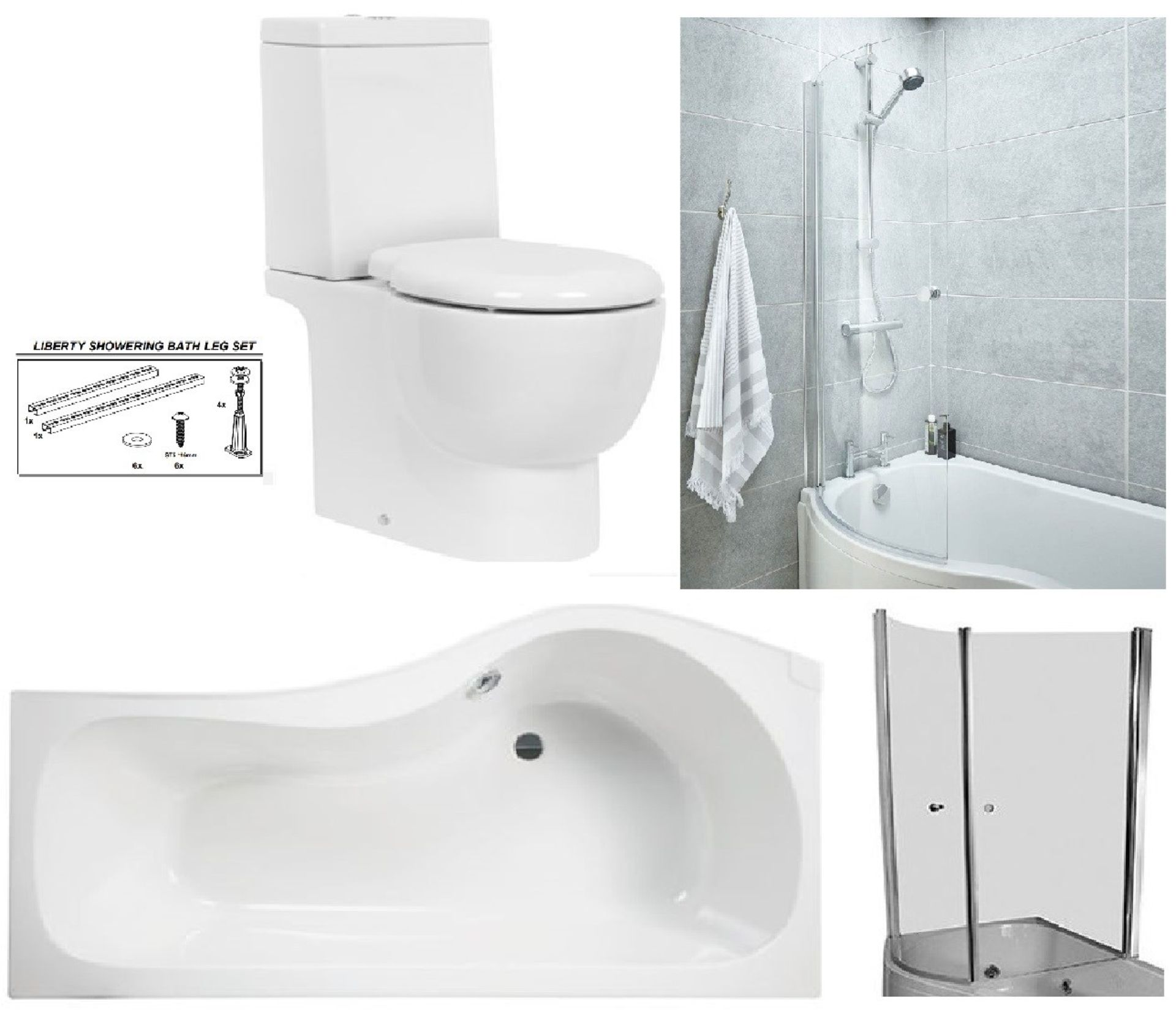 Lot 4 - Bathstore 'Liberty' LEFT HANDED 1500mm re-enforced 'P' shower bath with curved pivot front bath