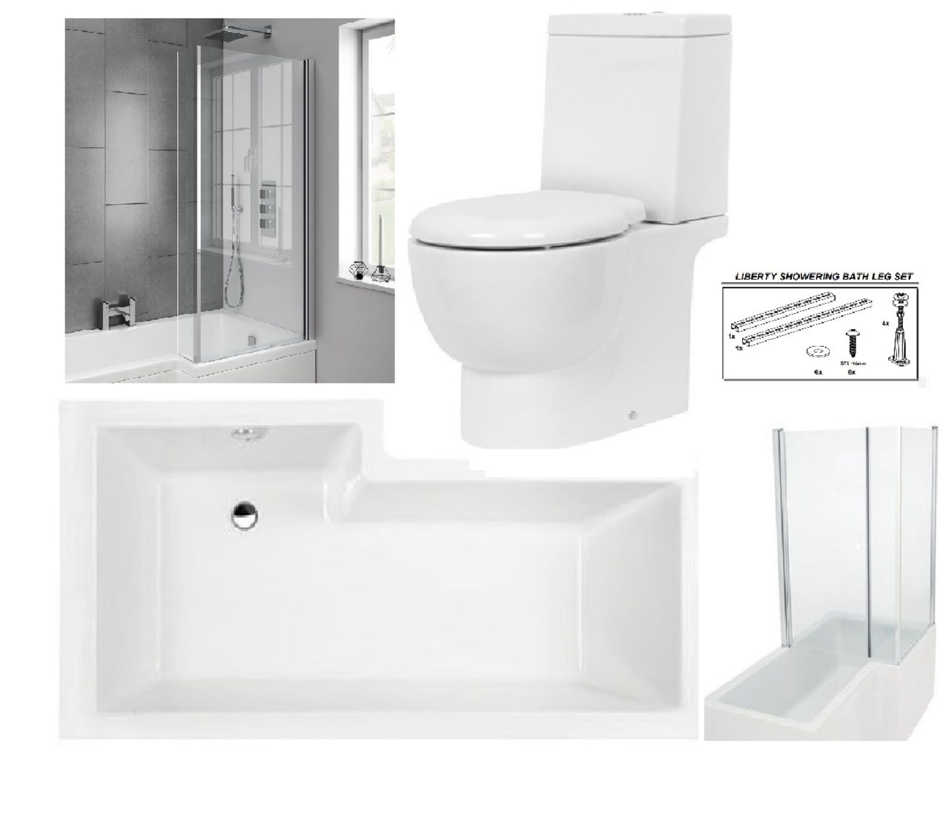Lot 2 - Bathstore 'Liberty Showercube' RIGHT HANDED 1700mm re-enforced 'L' shower bath with pivot front