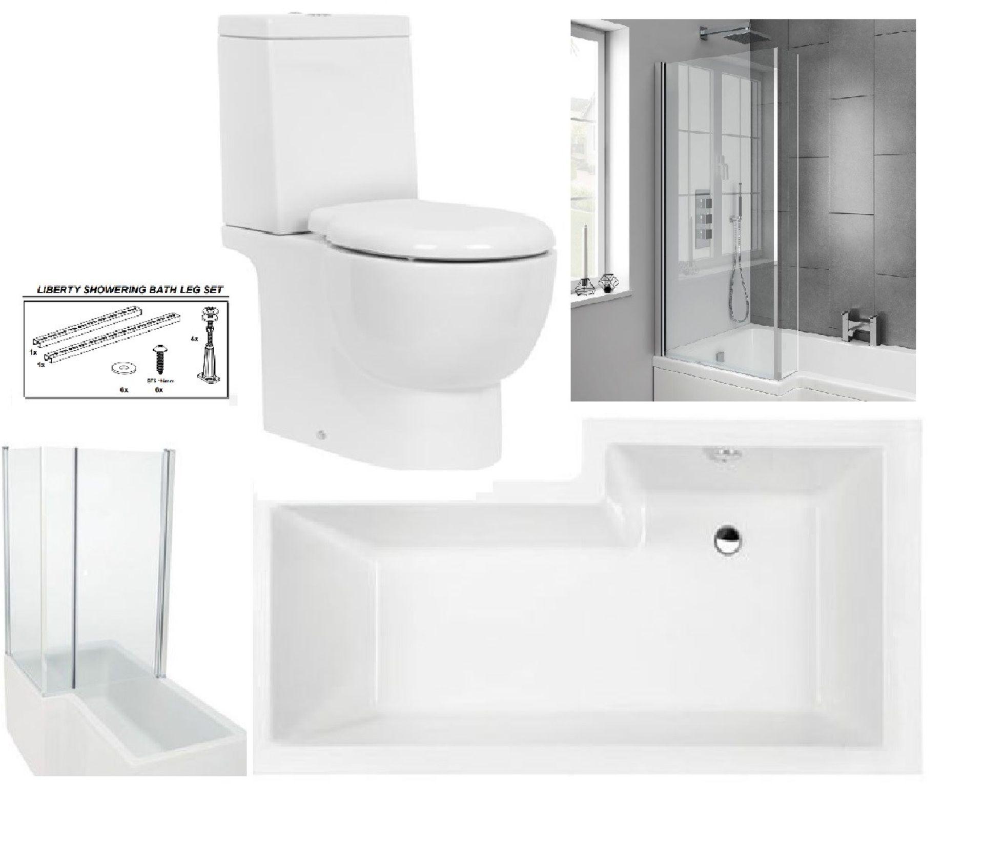 Lot 3 - Bathstore 'Liberty Showercube' LEFT HANDED 1700mm re-enforced 'L' shower bath with pivot front bath