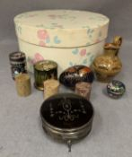 Contents to small box, silver dressing table tidy with glass liner and Bakelite lid,