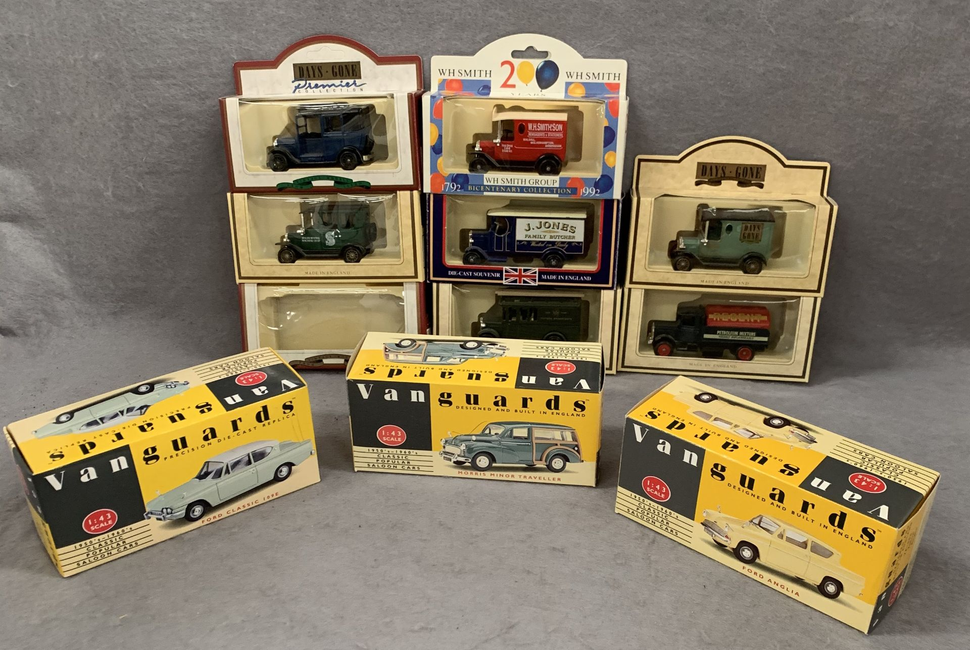 Lot 181 - Three boxes Vanguards 1:43 scale model cars - Ford Classic 109E,