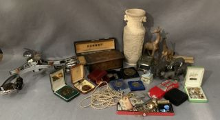 Contents to wood tray - oriental style vase, music box, plastic and wood animals, costume jewellery,