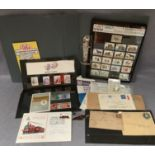 Contents to tray, Post Office and Royal Mail mint stamps, folder of GB stamps, stamped envelopes,