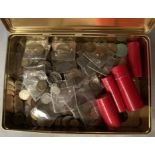 Contents to tin, a large quantity of Victorian and other pennies and coins,