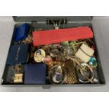 Contents to plastic box file, a large quantity of assorted costume jewellery, watches, bangles,