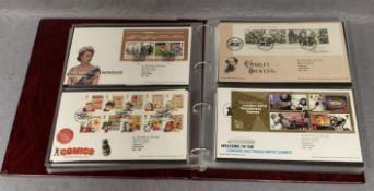 An album containing Royal Mail First Day Covers,